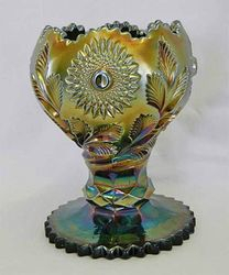 Hobstar and Feather giant rose bowl, green