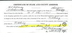 Certificate of Assessor