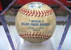 2009 GAME USED BALL FROM BOTTOM OF 6TH INNING PITCHER - AARON HARANG BATTER - ALBERT PUJOLS - RBI DOUBLE