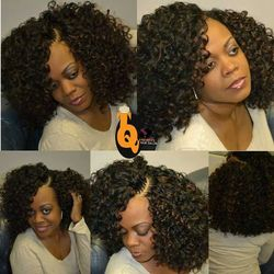 Curved part Tree braids using Freetress Gogo curls