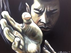 """Donnie Yen"", ""Ip Man"", ""Film Icons"",acrylic on canvas, by Fin Collins, part of The Film Icons Collection www.filmiconsgallery.com"