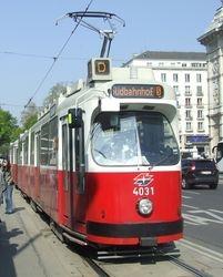 SGP built E2 class tram, photographed near Karlskirche