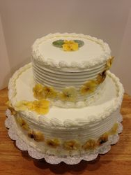 Yellow Edible Flowers Wedding Cake