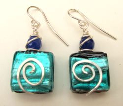Scroll on Square Earrings