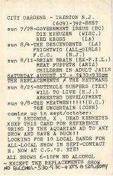 1985-07-28 City Gardens, Trenton, NJ