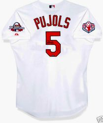 2009 Albert Pujols Autographed St. Louis Cardinals Jersey with 2009 All Star Game Patch & Commemorative MVP Patch 5/25