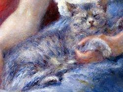 Renoir, Girl Asleep with Cat, detail, Clark