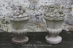 #23/007 French Pair of Concrete Bouquets
