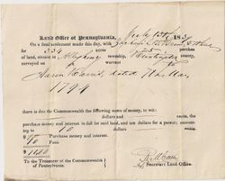 Zachariah G. Brown Land Purchase from Aaron Harris in Allegheny Township in 1839