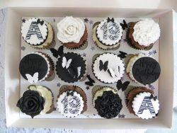 Black and White Birthday Cupcakes