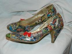 Decoupaged superhero shoes