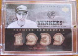 2007 Upper Deck Premier Joe Dimaggio Game Used Card