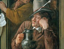 Jan Steen, Rhetoricians at the Window, detail, Philadelphia