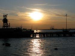 sunset over Harwich port