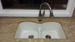 Under mount White Top Oval 50/50 sink