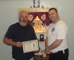 Sensei Brian Ford accepting his appointment as a Scottish Fighting Arts Soceity Technical Advisor