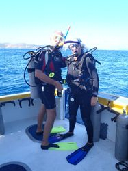 About to dive on the wreck of RMS Rhone