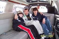 Mike, cousin Cory and Brandon in a limo
