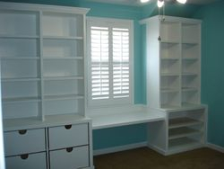 Storage with bench seat and/or desk area