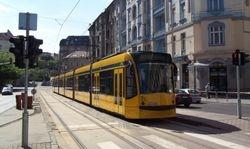 A Siemens Combino Supra Tram in Buda
