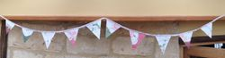 Soft pink/green 10 flag bunting with vintage embroidery ~ 10 flags