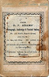R. F. Adams, photographer of St. Louis, MO - back