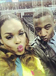 "Demetria McKinney & Victor At The ""Women's Championship Game"" In North Carolina, on March 2, 2013"