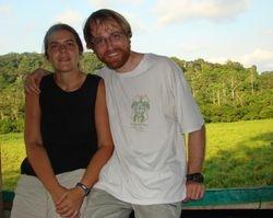Noëlle Gunst and JB Leca on the platform overhanging the Langoué Baï at Ivindo National Park, Gabon (May 2008)