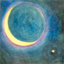 New Moon and Venus, Tempera, 4x4, Original Sold