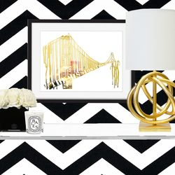 Drip to San Francisco, Gold Foil Print