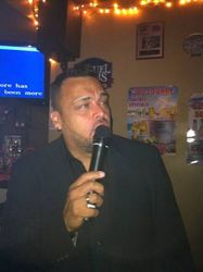 David G. expressing himself at Carmen & Patty's Birthday Celebration (502 Bar Lounge's Social Saturday Karaoke Night)!