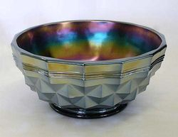 "Heavy 'Banded' Diamonds 8"" bowl, dark"