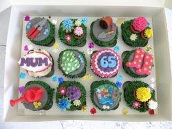 Gardening themed birthday cupcakes