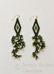 Beaded Brickstitch Diamond Earrings with Branch Fringe - $51.00