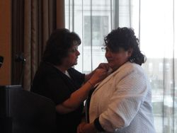 Past President's Pin:  Anne Ihde & Eva Martinez, PLS