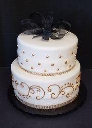 Black, Gold and White Birthday Cake