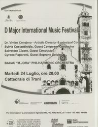 Program booklet cover for concert in Trani, Italy