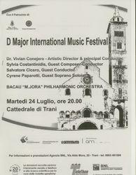 Program booklet cover for concert in Trani, Italy