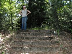 Krissy on the old train station stairs