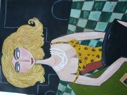 Dame mit blonden Haaren 50x70 Acryl auf Leinwandblock