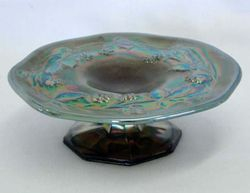Miniature Blackberry, footed plate in blue