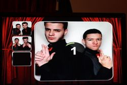 Eric and Brandon testing the Photo Booth