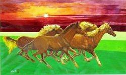 Wild Horses Sauntering In  Freedom