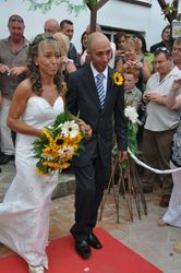 The bride was given away by her son