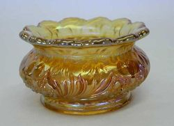 Cosmos and Cane 'ladies spittoon', in honey amber, U.S. Glass
