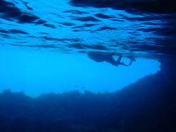 Ann snorkelling in Thunderball Grotto