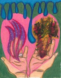 Holding Love and Anger Together, Oil Pastel, 11x14, Original Sold