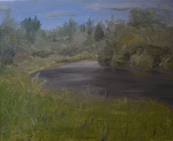 Sturgeon River in summer, east of Sunnyside Road (oil on canvas)