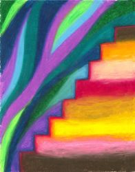 Steps To The Future, Oil Pastel, 11x14, Original Sold