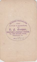 P. F. Cooper, photographer, Philadelphia, PA - back